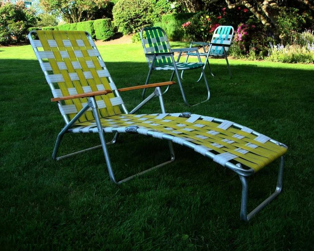 Newest Mid Century Aluminum Chaise Lounge Folding Lawn Chair Aluminum And Inside Folding Chaise Lounge Outdoor Chairs (View 10 of 15)