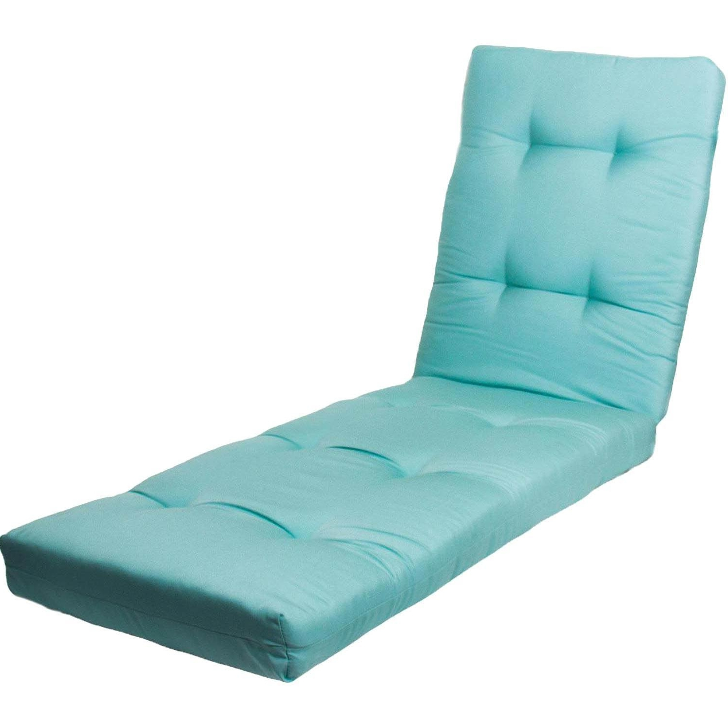 Newest Outdoor Chaise Lounge Cushions In Sunbrella Canvas Glacier Extra Long Outdoor Replacement Chaise (View 8 of 15)