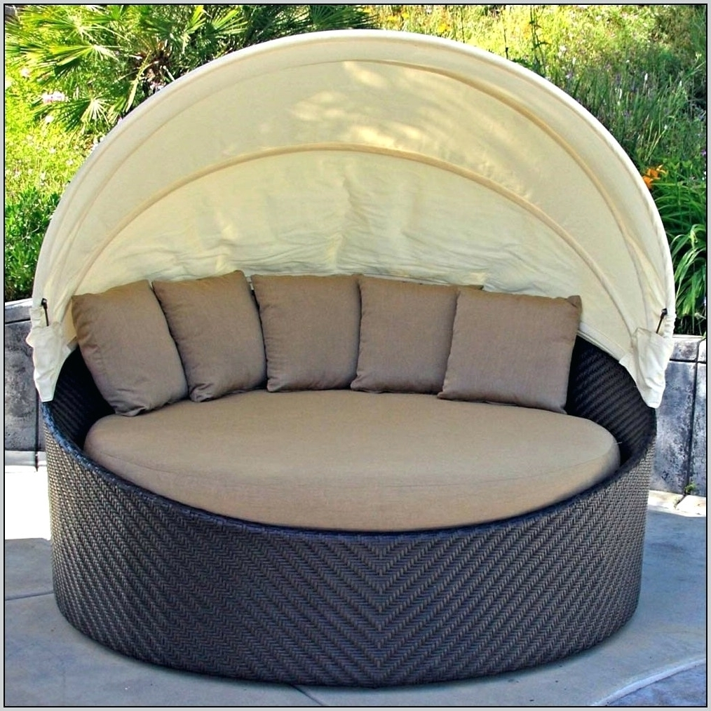 Newest Outdoor Round Double Patio Chaise Lounge Chair Outdoor Round Within Round Chaises (View 6 of 15)