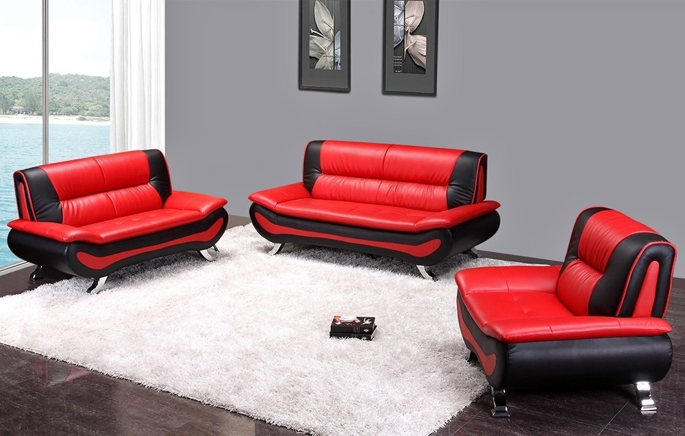 Newest Red Leather Couches And Loveseats With Red And Black Leather Sofa Set (View 2 of 10)