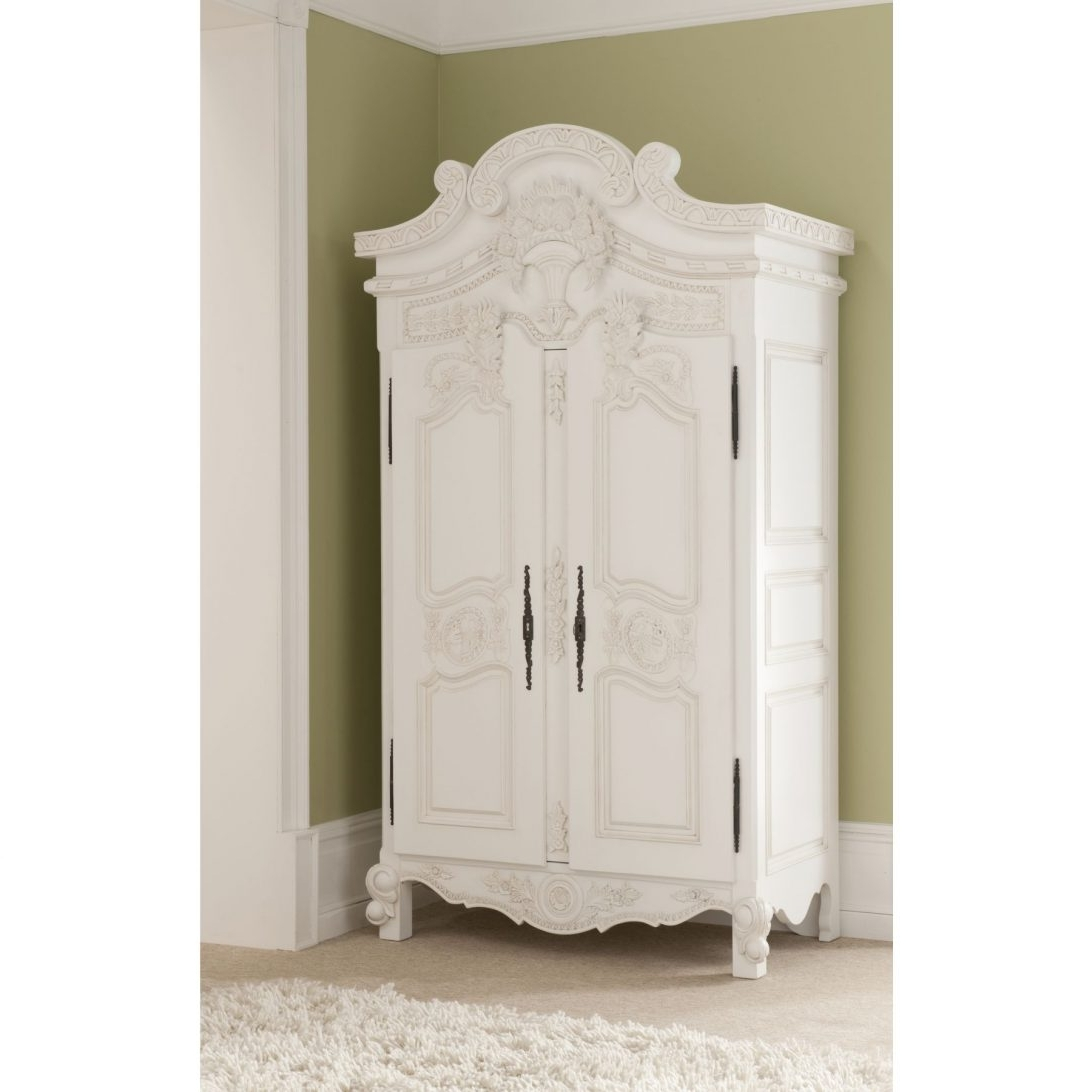 Newest Small White French Wardrobe Fitted Wardrobes Pine Armoire Best Intended For Small Wardrobes (View 8 of 15)