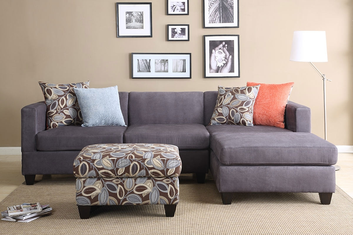 Newest Sofas With Reversible Chaise For 2Pc Smooth Charcoal Microfiber Pillow Reversible Chaise Sectional (View 6 of 15)