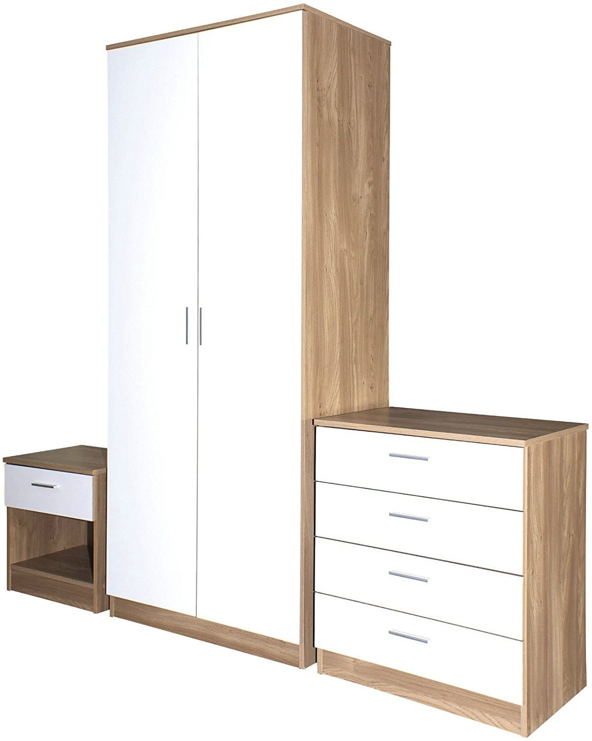 Newest Trio White High Gloss & Oak Frame 3 Piece Bedroom Furniture Set In Cheap Wardrobes And Chest Of Drawers (View 12 of 15)