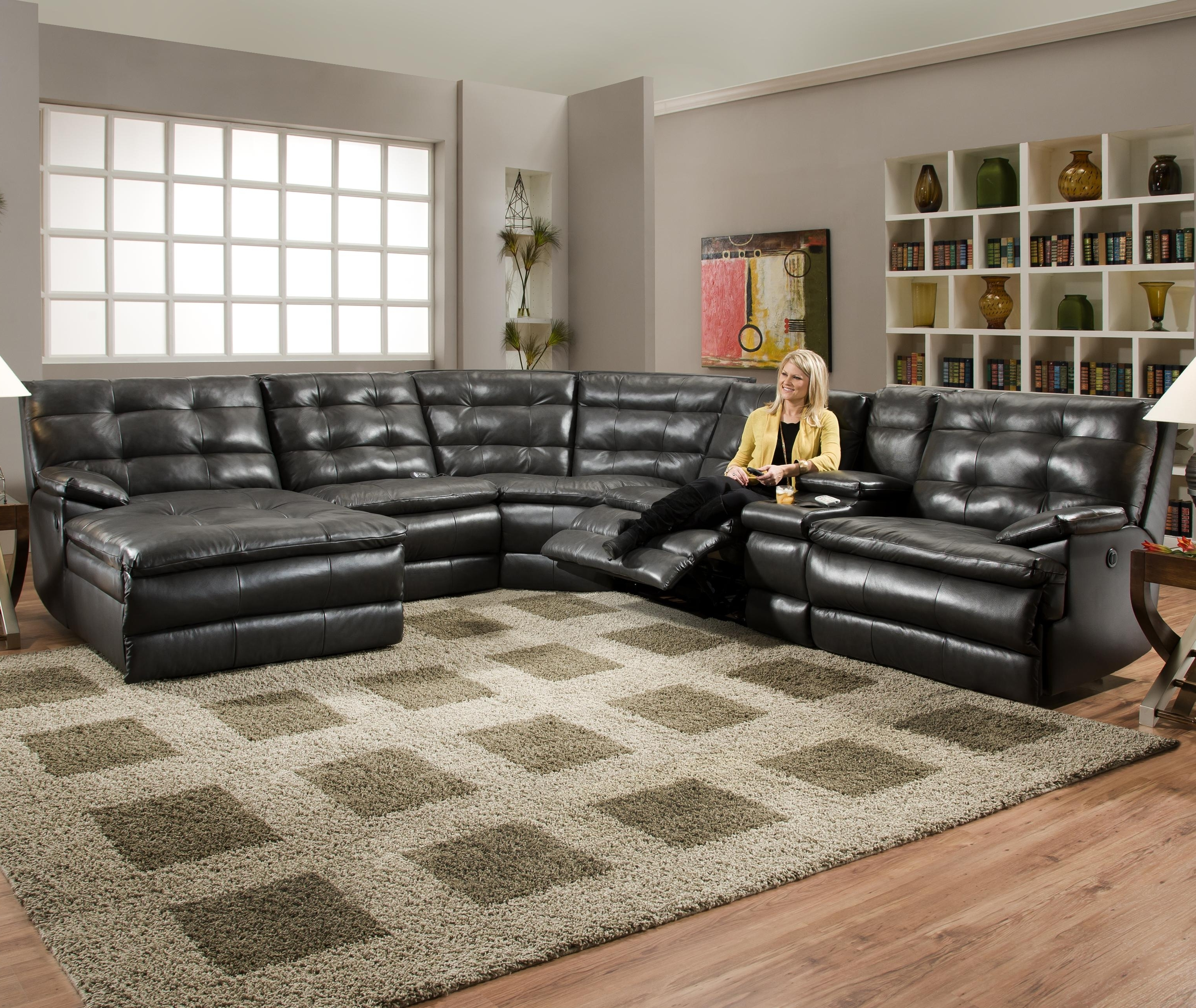 Newest Tufted Sectionals With Chaise In Luxurious Tufted Leather Sectional Sofa In Classy Black Color With (View 13 of 15)