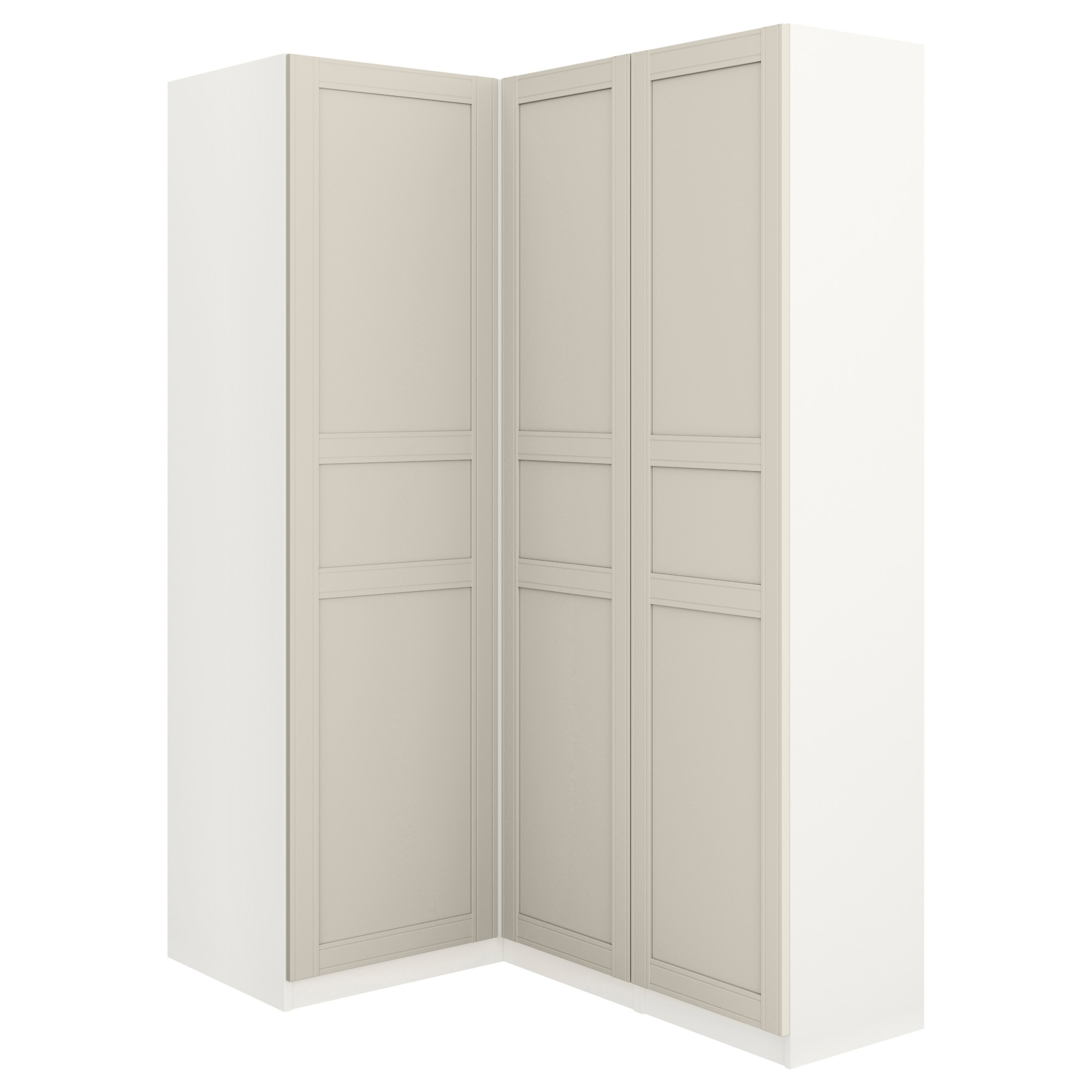 Newest White Corner Wardrobes Units Intended For Pax Corner Wardrobe White/flisberget Light Beige 160/88X201 Cm – Ikea (View 7 of 15)