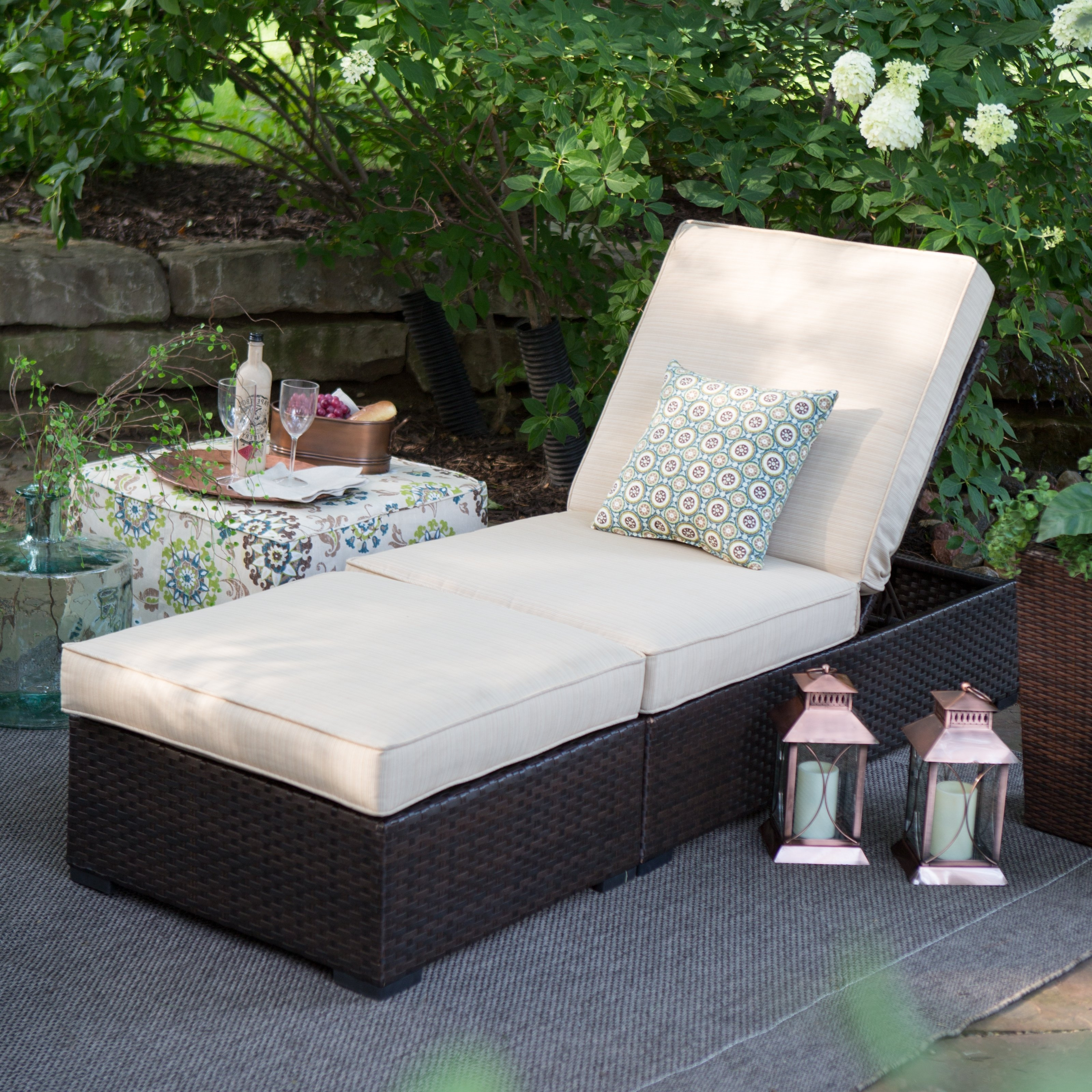 Newest Wicker Chaise Lounges Intended For Belham Living Marcella Wide Wicker Chaise Lounge With Ottoman (View 8 of 15)