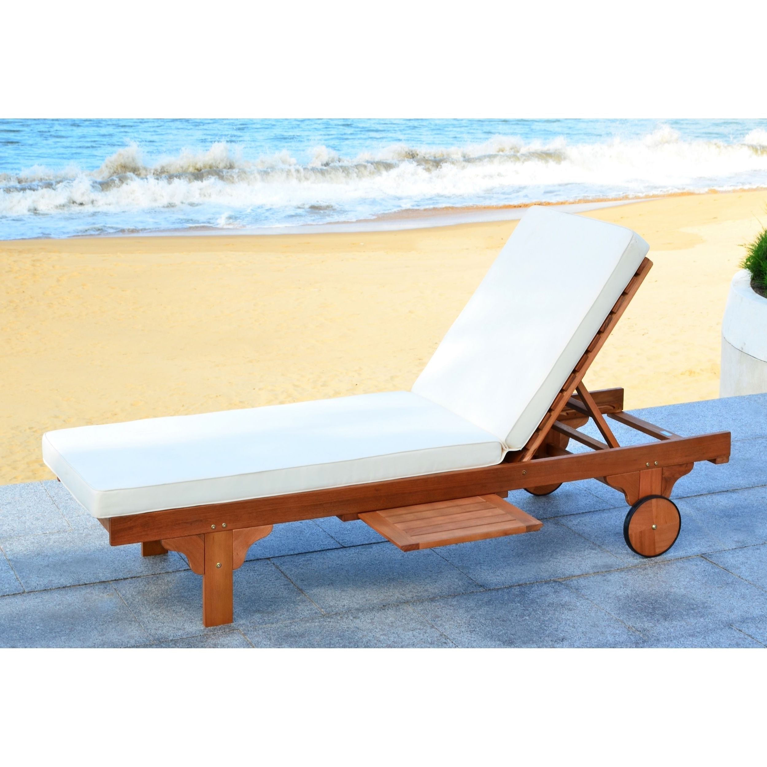Newport Chaise Lounge Chairs With Most Recently Released Safavieh Outdoor Living Newport Brown/ Beige Adjustable Chaise (View 14 of 15)