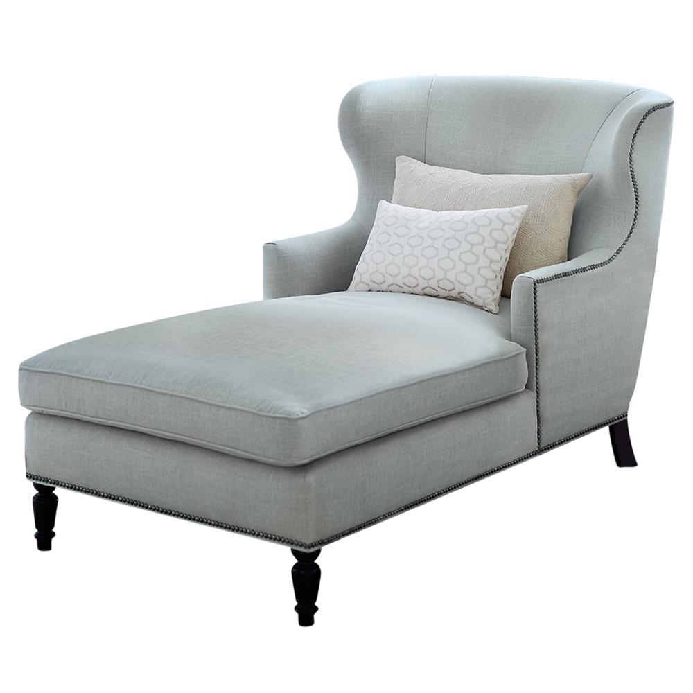 Nia Hollywood Regency Nickel Soft Sheen Blue Grey Velvet Chaise Regarding Latest Velvet Chaises (View 14 of 15)