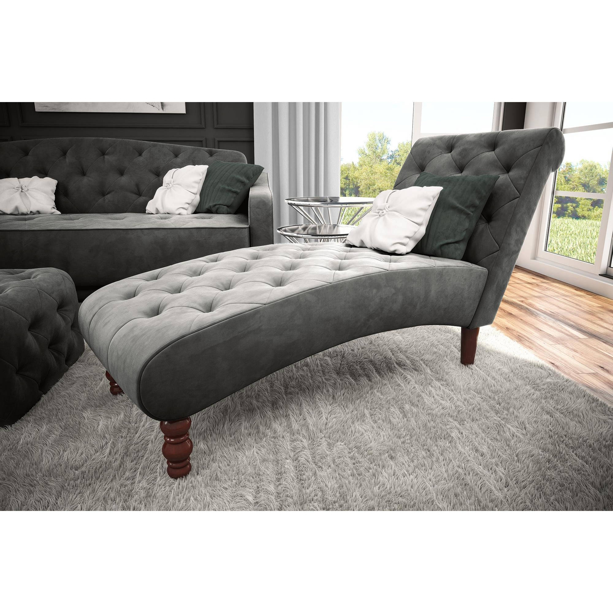 Novogratz Vintage Tufted Chaise, Multiple Colors – Walmart For Best And Newest Gray Chaises (View 12 of 15)