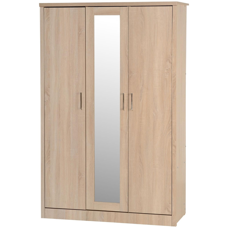 Oak 3 Door Wardrobes Pertaining To Popular Lisbon 3 Door Wardrobe – Next Day Delivery Lisbon 3 Door Wardrobe (View 9 of 15)