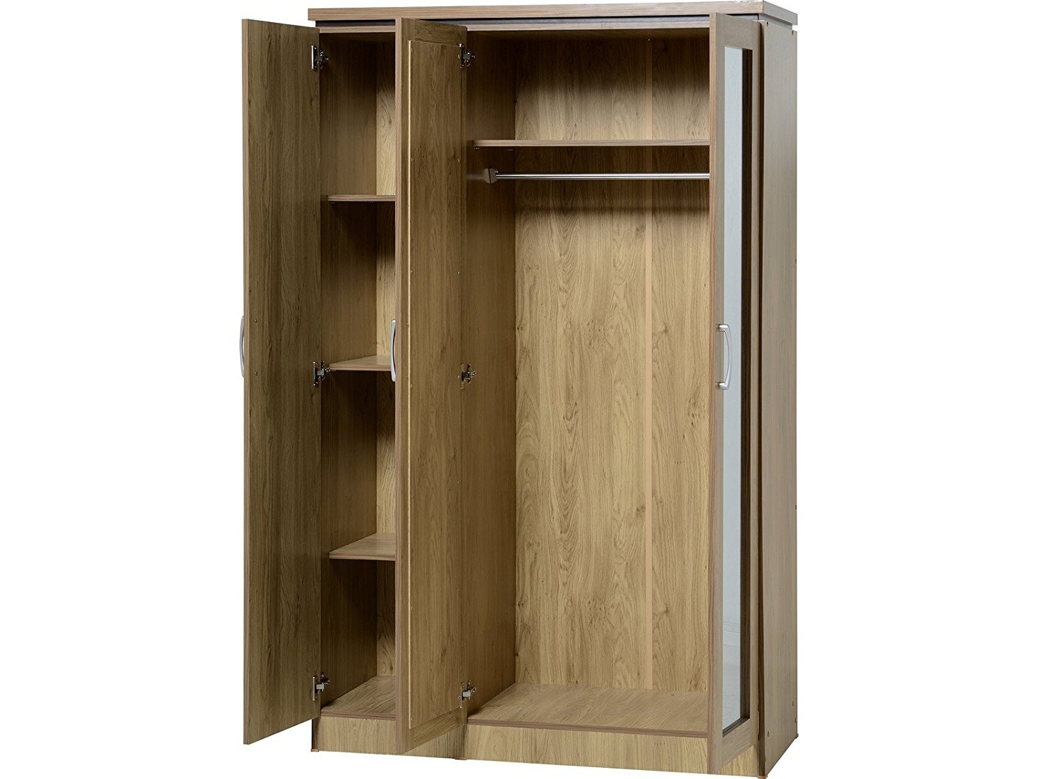 Oak 3 Door Wardrobes With Most Up To Date Seconique Charles 3 Door Wardrobe With Mirrors – New All Hanging (View 11 of 15)