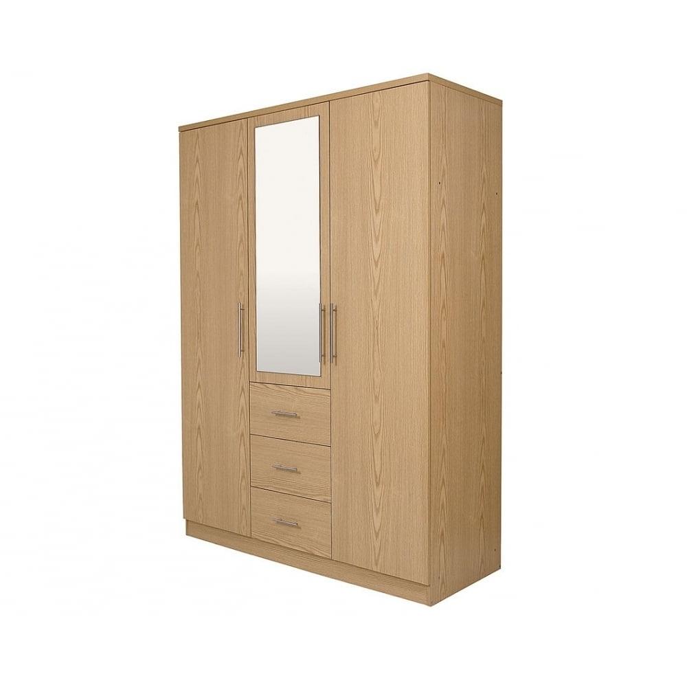 Oak 3 Door Wardrobes With Regard To Newest Natural Oak 3 Door Wardrobe – Bedroom Furniture From Uc Beds Uk (View 11 of 15)