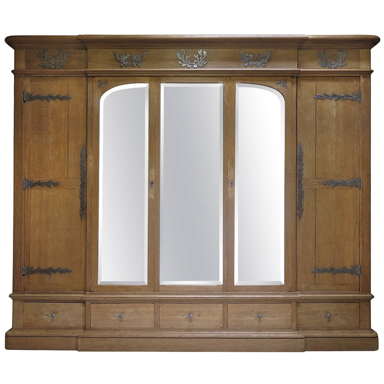 Oak Wardrobes For Sale Inside Famous Solid Oak Wardrobe With Olive Leaf Motif Hardware, France, Early (View 10 of 15)