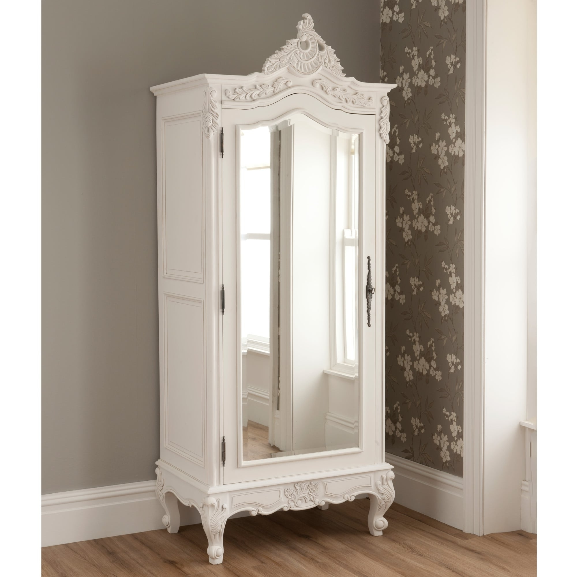 One Door Mirrored Wardrobes Pertaining To Most Current La Rochelle Mirrored Antique French 1 Door Wardrobe (View 9 of 15)