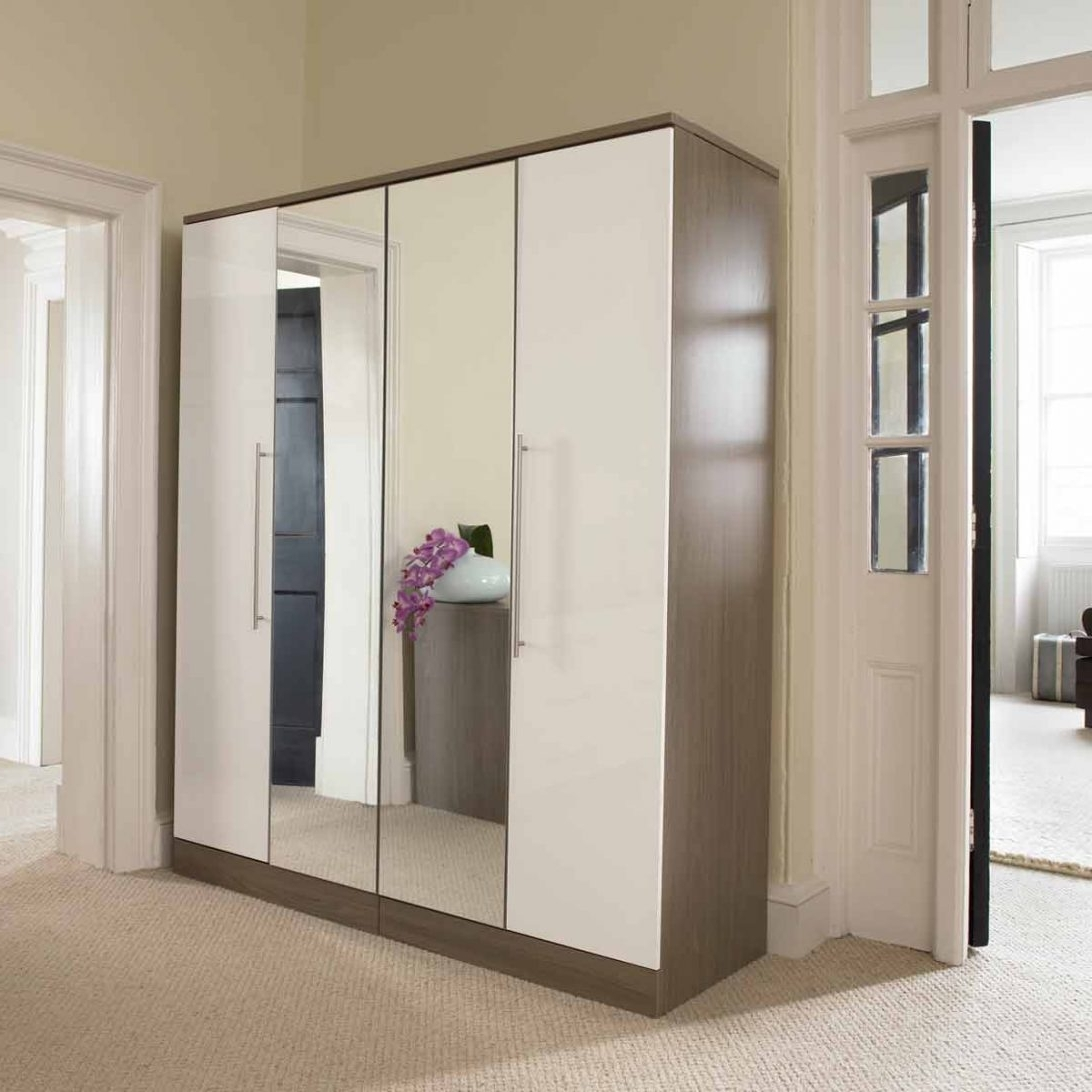 One Door Mirrored Wardrobes With Popular Double Wardrobe With Mirrored Sliding Doors Single Door B&q Mirror (View 11 of 15)