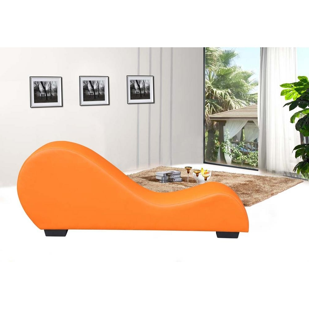 Orange Faux Leather Chaise Lounge Cl 08 – The Home Depot With Regard To 2018 Home Depot Chaise Lounges (View 11 of 15)