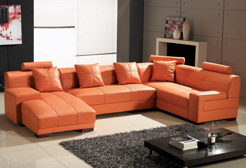 Orange Sectional Sofas Intended For Famous Fabulous Orange Leather Sofa Set Stunning Leather Sectional Sofa (View 7 of 10)
