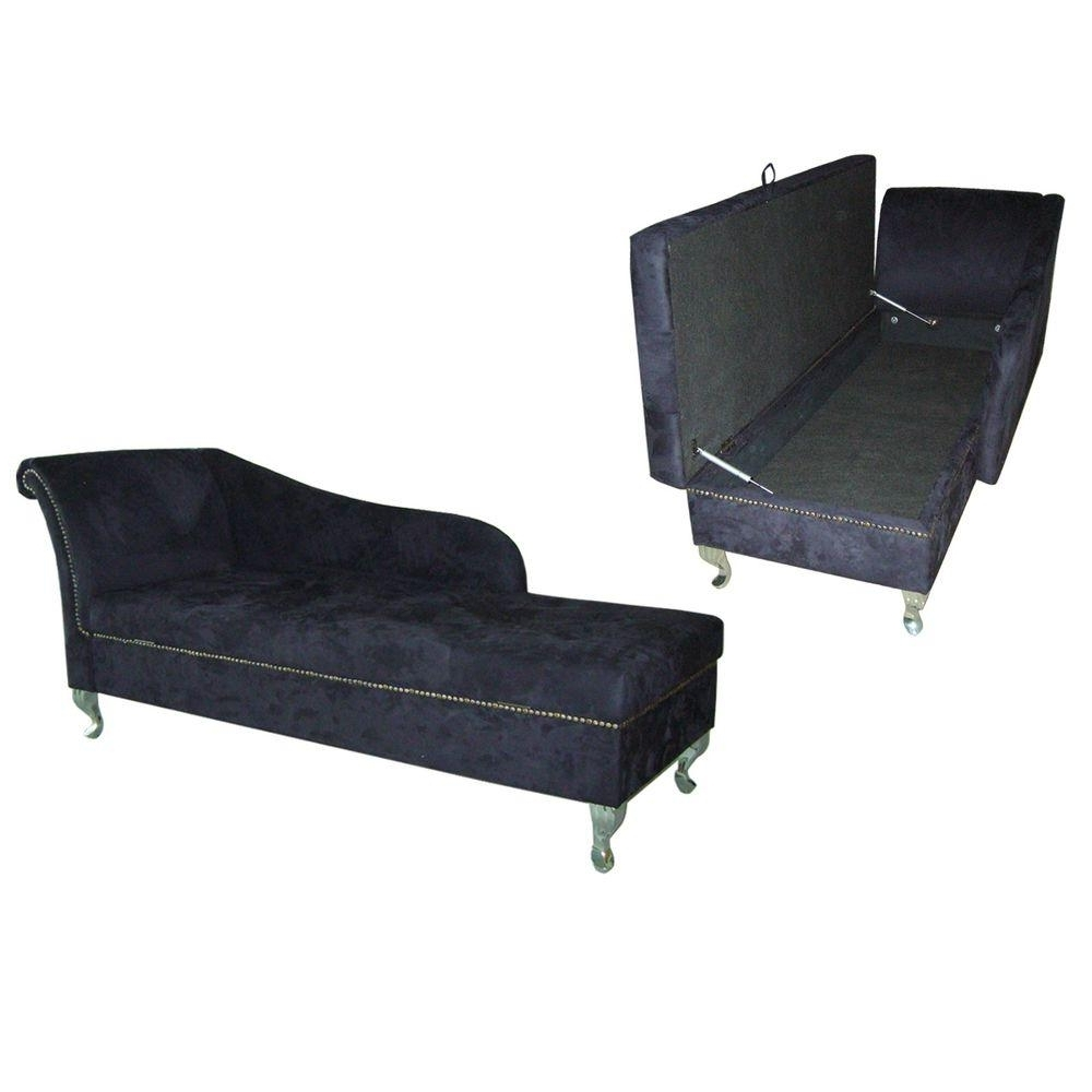 Ore International Navy Blue Microfiber Storage Chaise Lounge With Best And Newest Chaise Lounges With Storage (View 12 of 15)