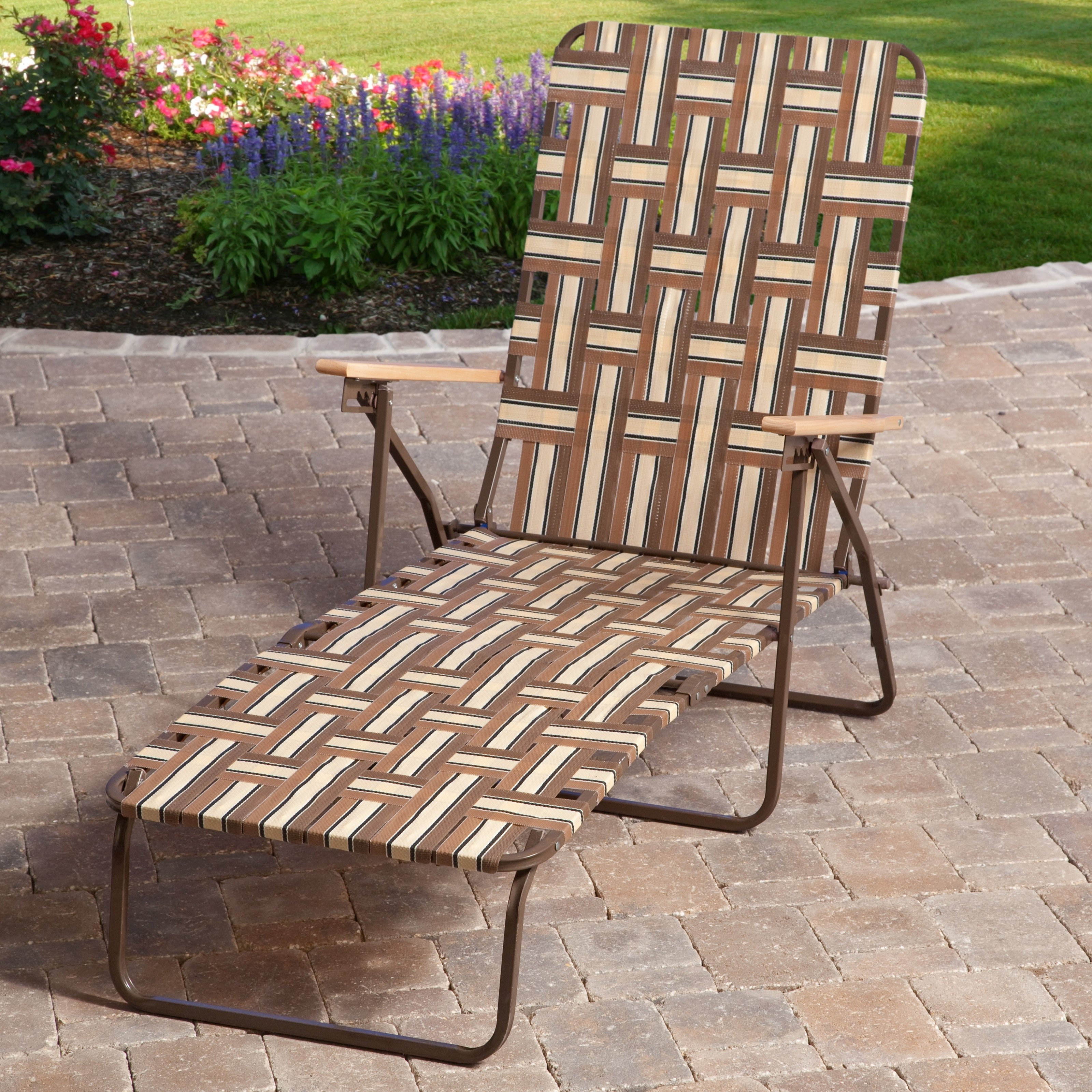 Outdoor Chaise Lounge Chairs At Walmart With Famous Rio Deluxe Folding Web Chaise Lounge – Walmart (View 3 of 15)