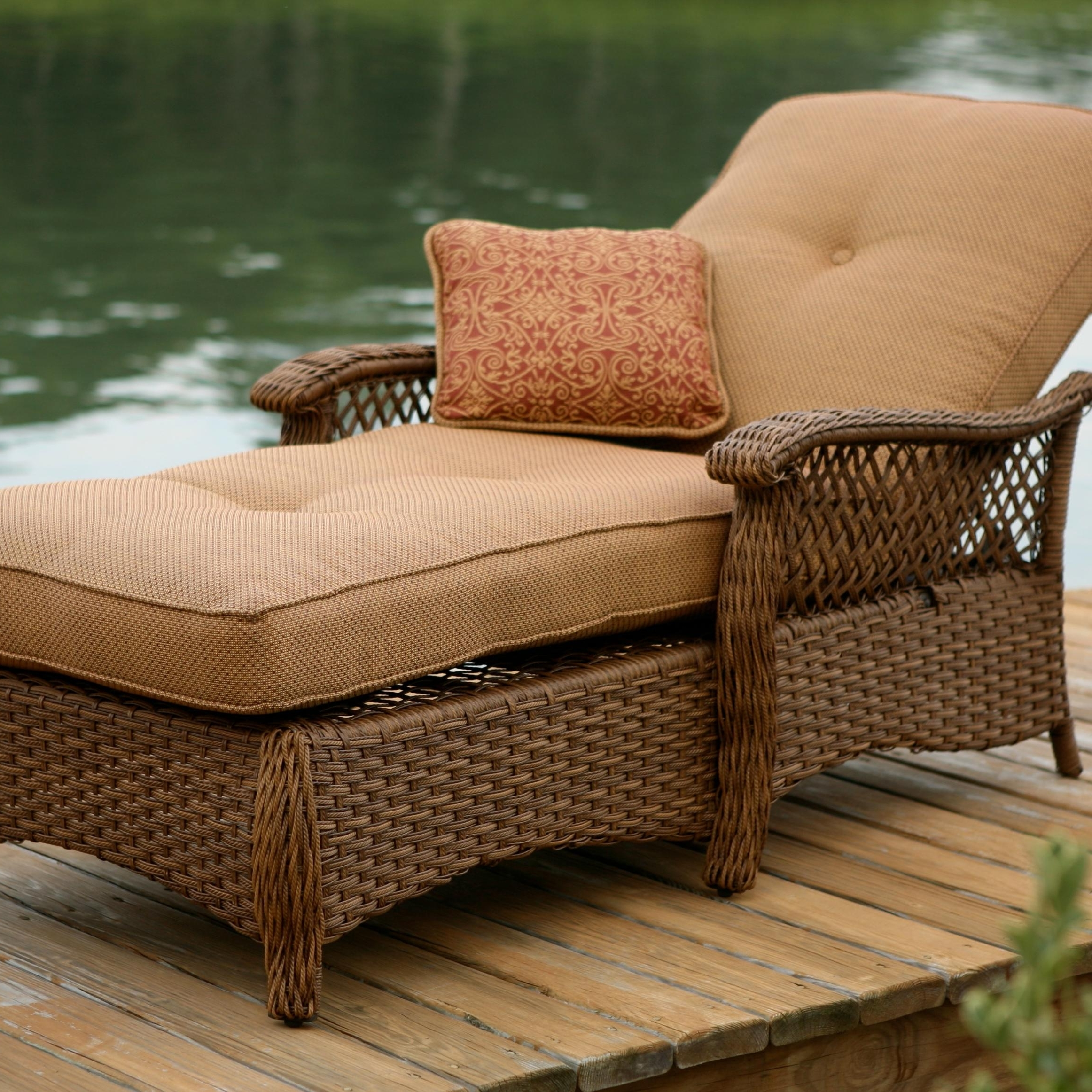 Outdoor Chaise Lounge Chairs With Arms Regarding Most Current Agio Veranda–Agio Outdoor Tan Woven Chaise Lounge Chair With Seat (View 8 of 15)