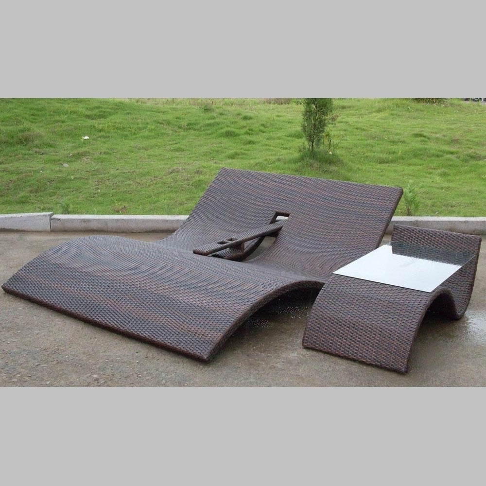 Outdoor Double Chaise Lounges For Most Recently Released Tortola Double Chaise Lounge Set (View 4 of 15)