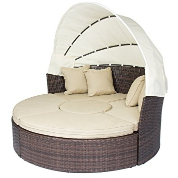 Outdoor Sofa Chairs With Regard To Most Current Amazon : Outdoor Patio Sofa Furniture Round Retractable Canopy (View 3 of 10)