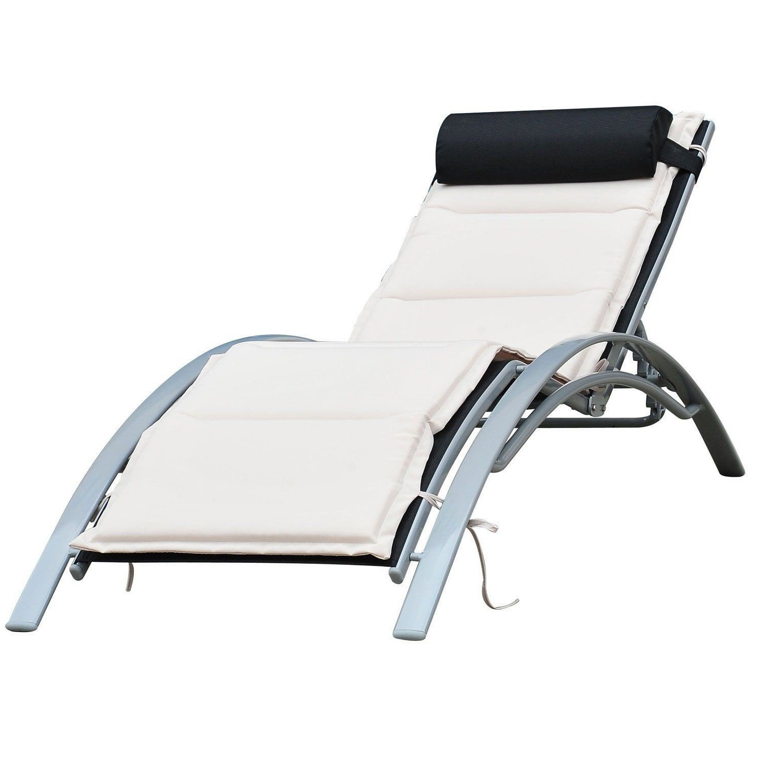 Outsunny Patio Reclining Chaise Lounge Chair With Cushion – Black Pertaining To Popular Chaise Lounge Reclining Chairs For Outdoor (View 13 of 15)