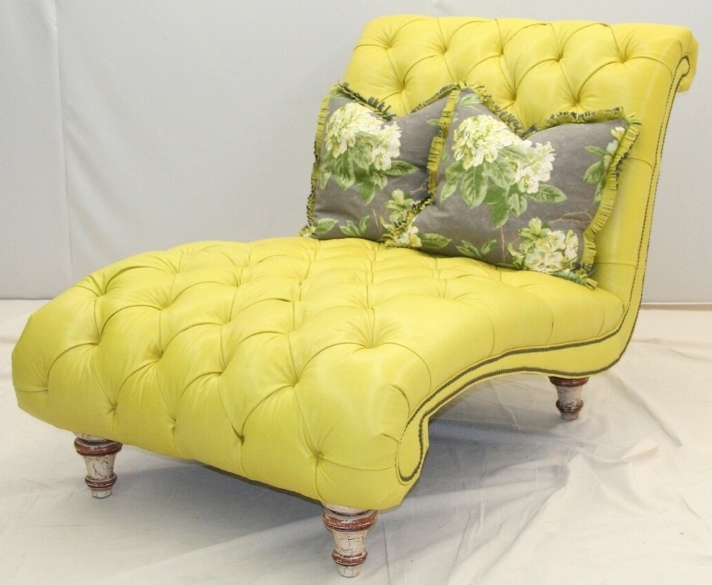 Oversized Chaises Regarding Widely Used Furniture: Oversized Yellow Tufted Chaise Bench With Two Floral (View 11 of 15)