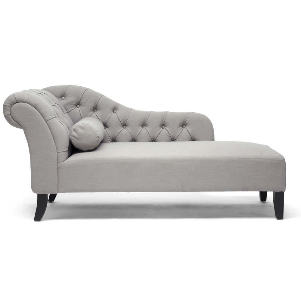 Overstock Chaise Lounges Intended For Preferred Baxton Studio 'aphrodite' Tufted Putty Gray Linen Modern Chaise (View 10 of 15)