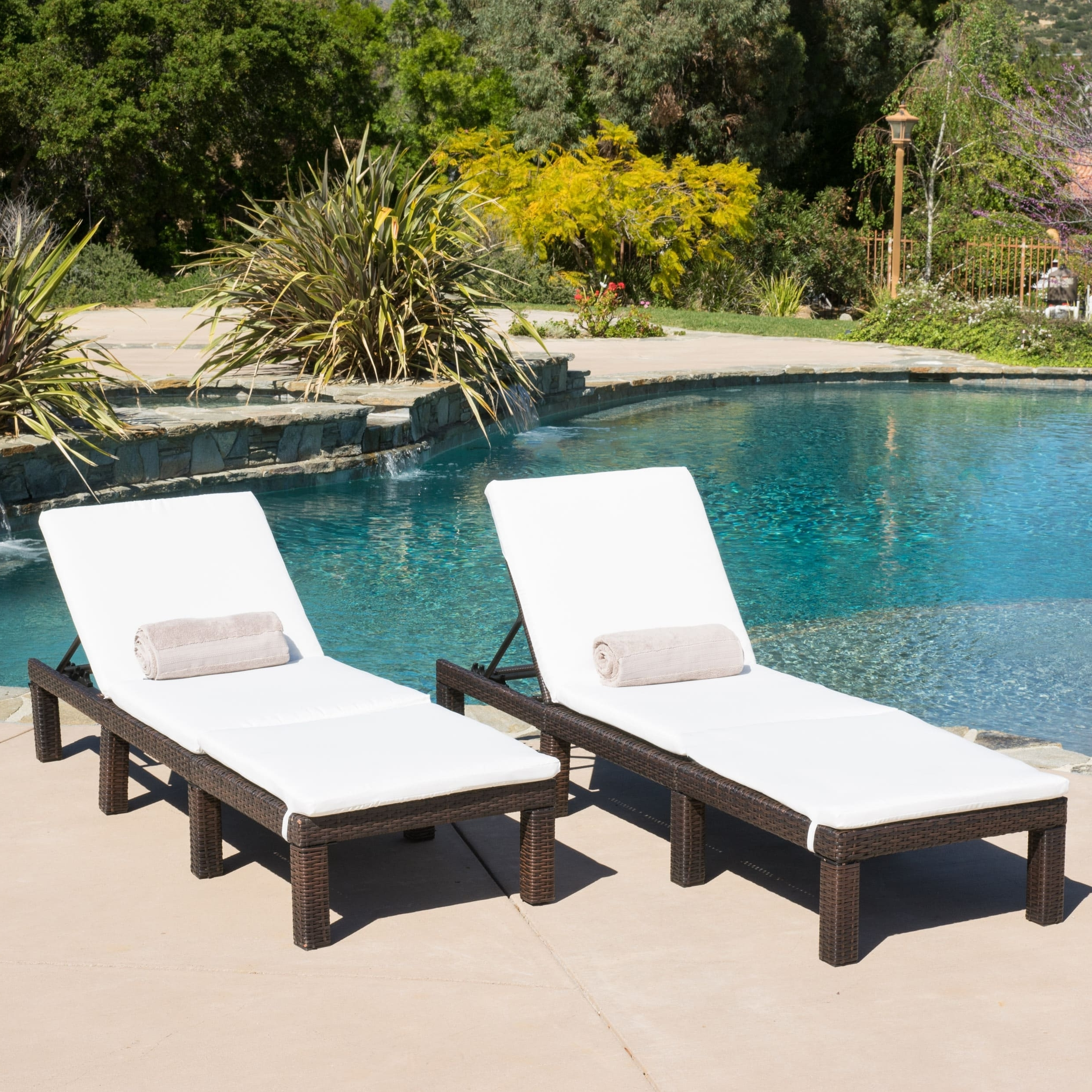 Overstock Outdoor Chaise Lounge Chairs Inside Trendy Jamaica Outdoor Chaise Lounge With Cushion (Set Of 2) (View 7 of 15)