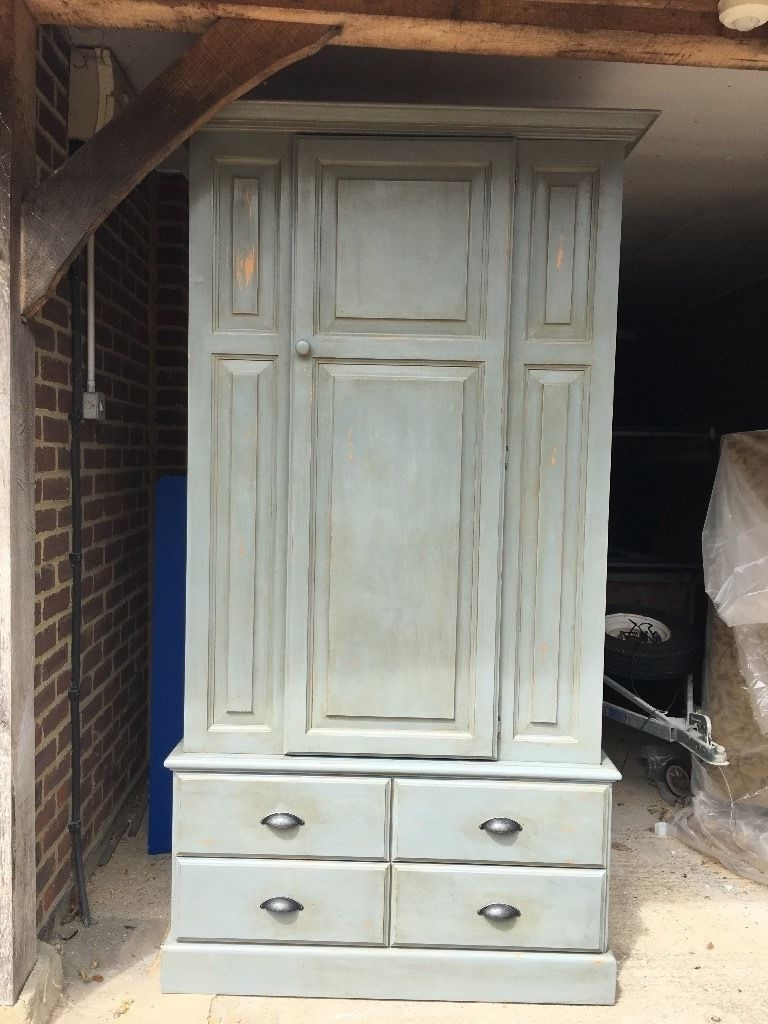 Painted Blue/grey Shabby Chic Pine Wardrobe For Sale (View 10 of 15)