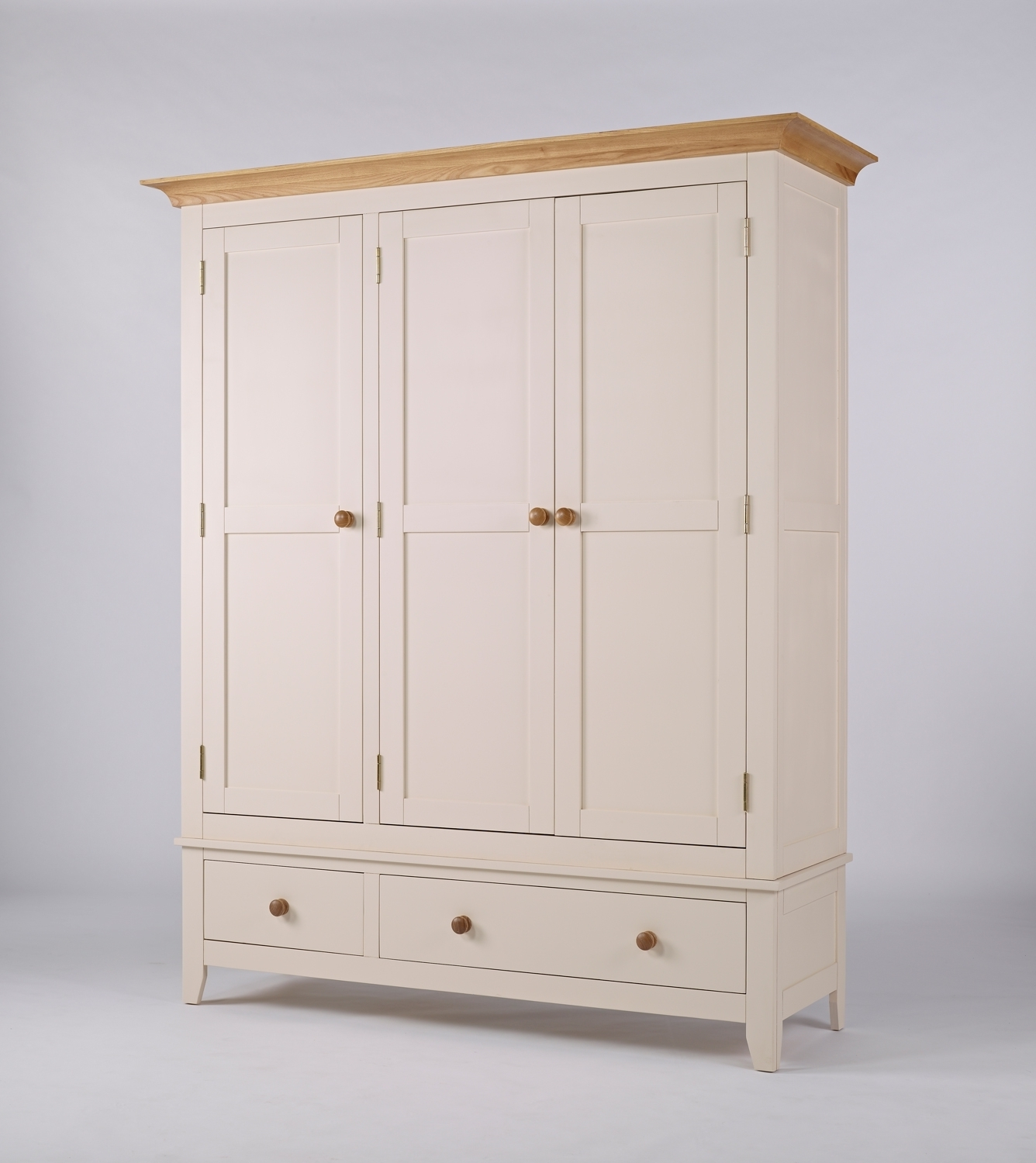 Painted Triple Wardrobes With Best And Newest Camden Painted Pine & Ash Triple Wardrobe With Drawers (View 10 of 15)