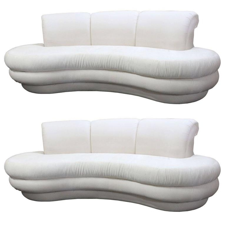 Pair Or Single Vintage Adrian Pearsall Kidney Cloud Curved Sofas With Well Known Single Sofas (View 7 of 10)