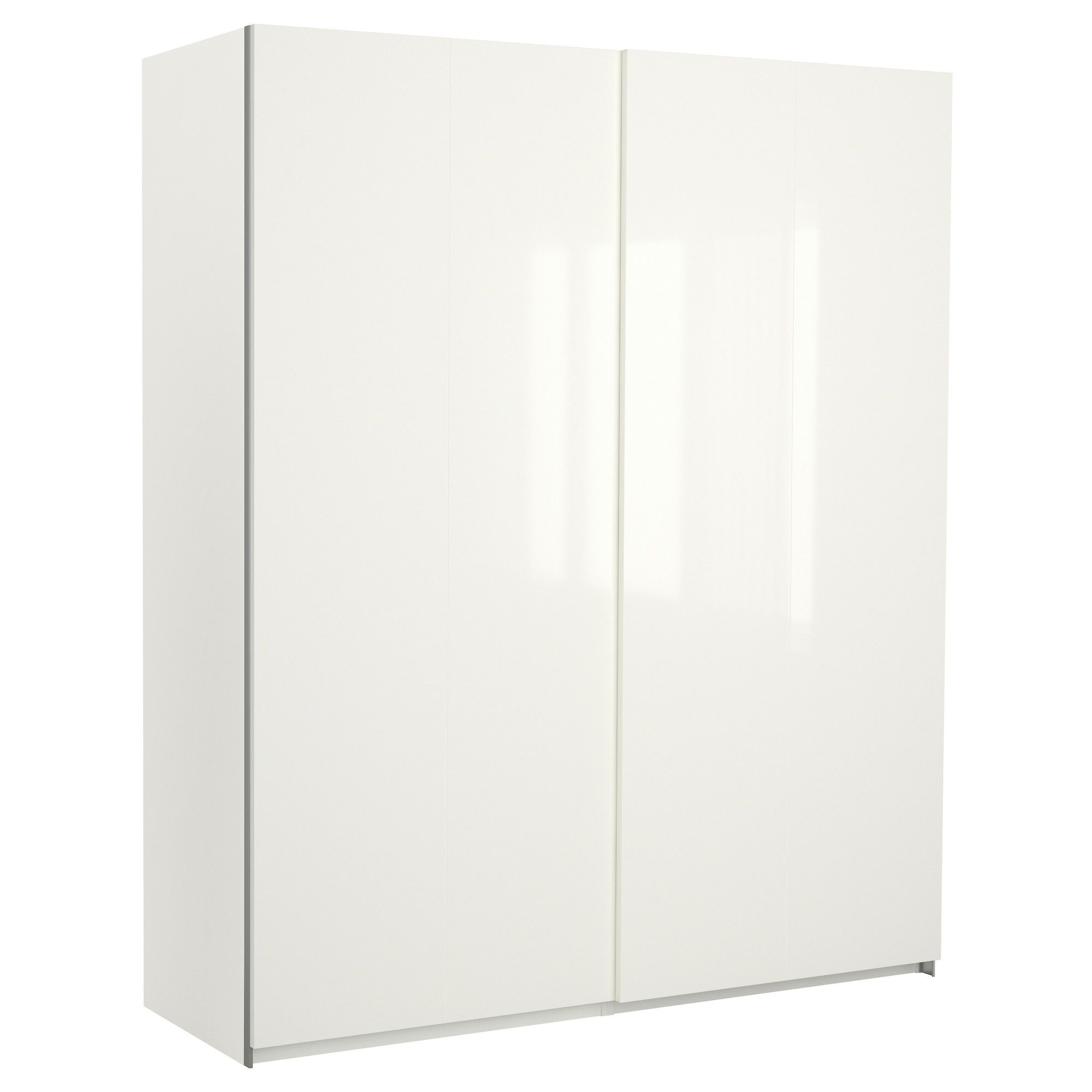 Pax Wardrobe With Sliding Doors White/hasvik High Gloss/white Within Trendy Tall White Gloss Wardrobes (View 10 of 15)