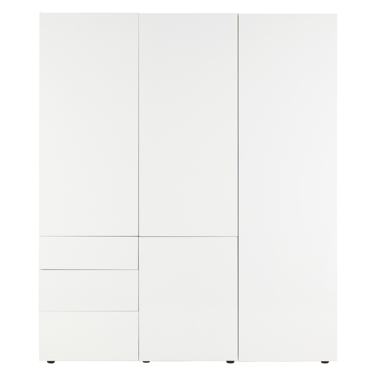 Perouse White 3 Door Wardrobe 180Cm Width (View 12 of 15)