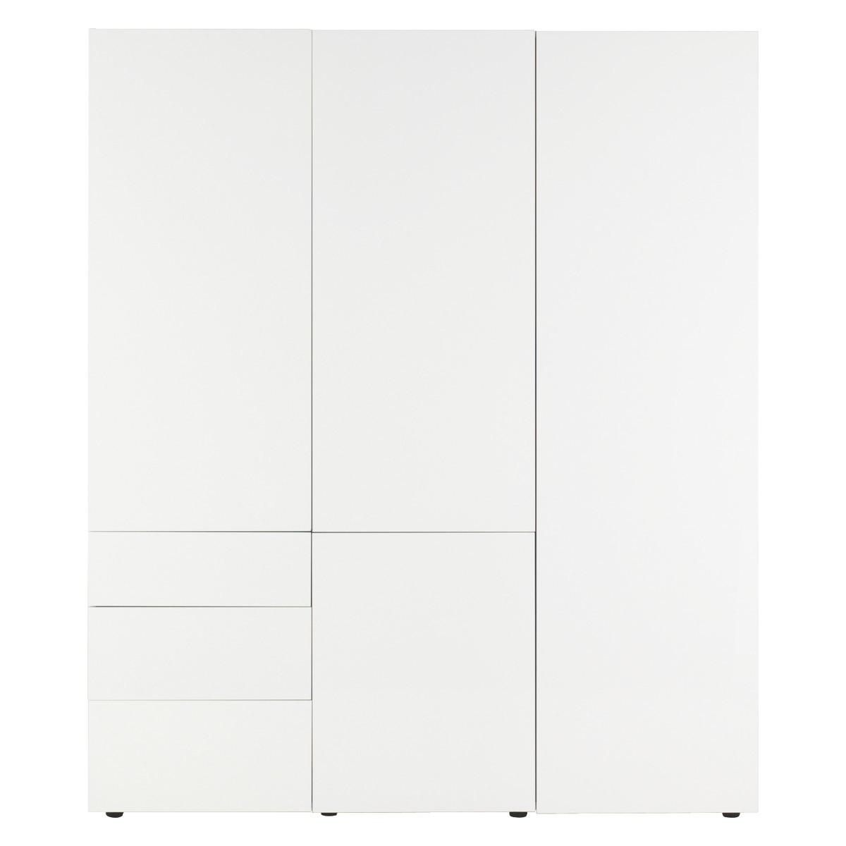 Perouse White 3 Door Wardrobe 180Cm Width (View 5 of 15)