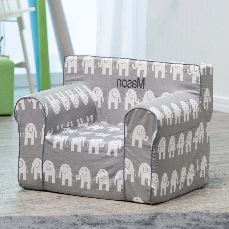 Personalized Kids Chairs And Sofas In Latest Here And There Personalized Kids Chair – Gray Elephant Dark Gray (View 10 of 10)