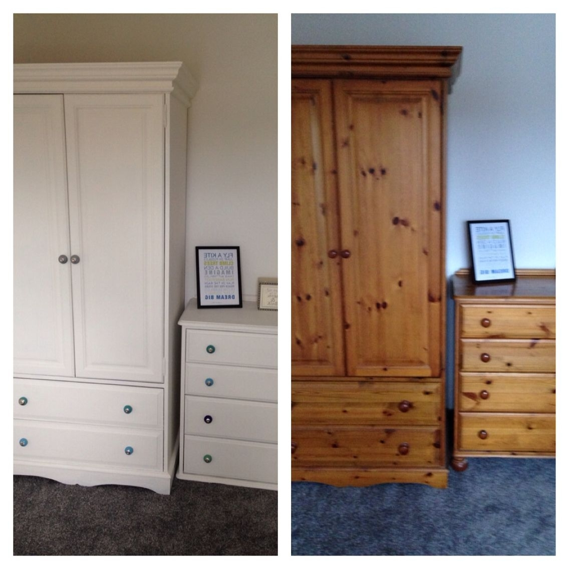 Pine Wardrobe And Drawers Upcycled Using 2 Coats Of Wood Primer, 2 Pertaining To 2018 White Pine Wardrobes (View 8 of 15)