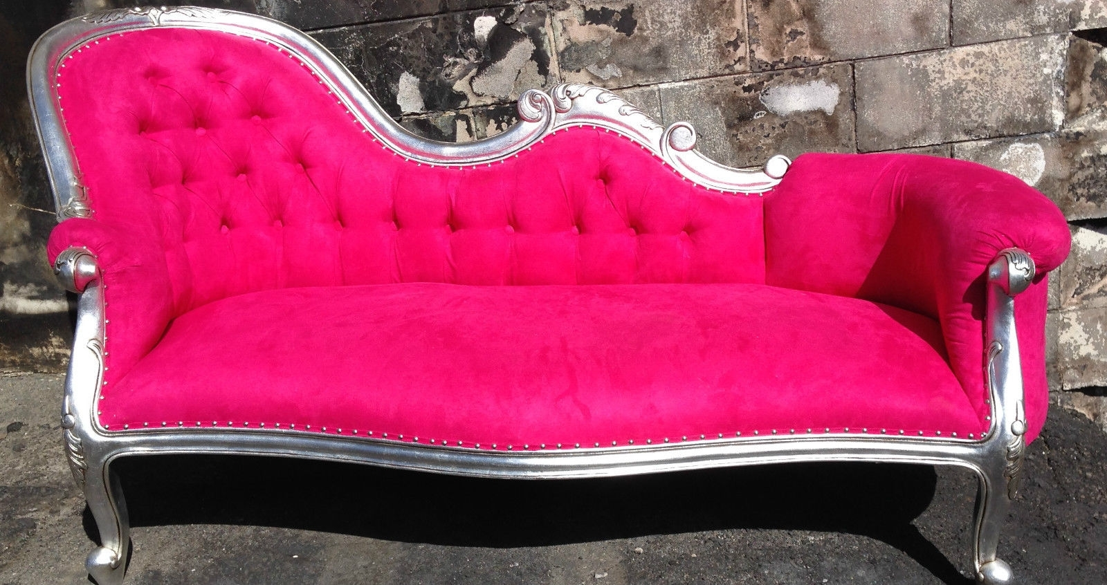 Pink Chaise Lounges Intended For Best And Newest Rockstar Pink Chaise Lounge Chesterfield Sofa Queen Loveseat Couch (View 7 of 15)