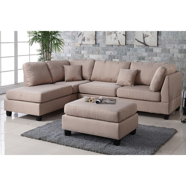 Pistoia 3 Piece Sectional Sofa With Ottoman Upholstered In Fabric Within Well Known Sofas With Ottoman (View 4 of 10)
