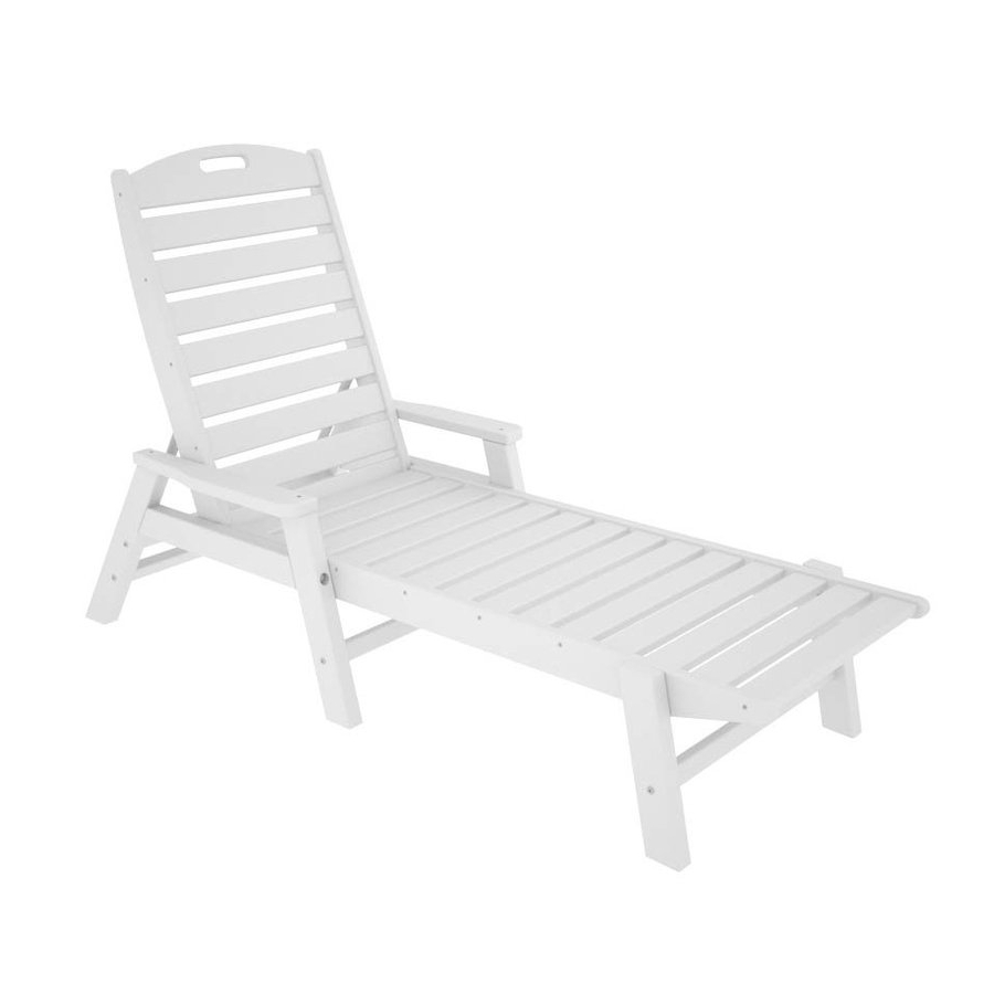 Plastic Chaise Lounge Chairs For Outdoors With Regard To Recent Shop Polywood Nautical White Plastic Patio Chaise Lounge Chair At (View 12 of 15)
