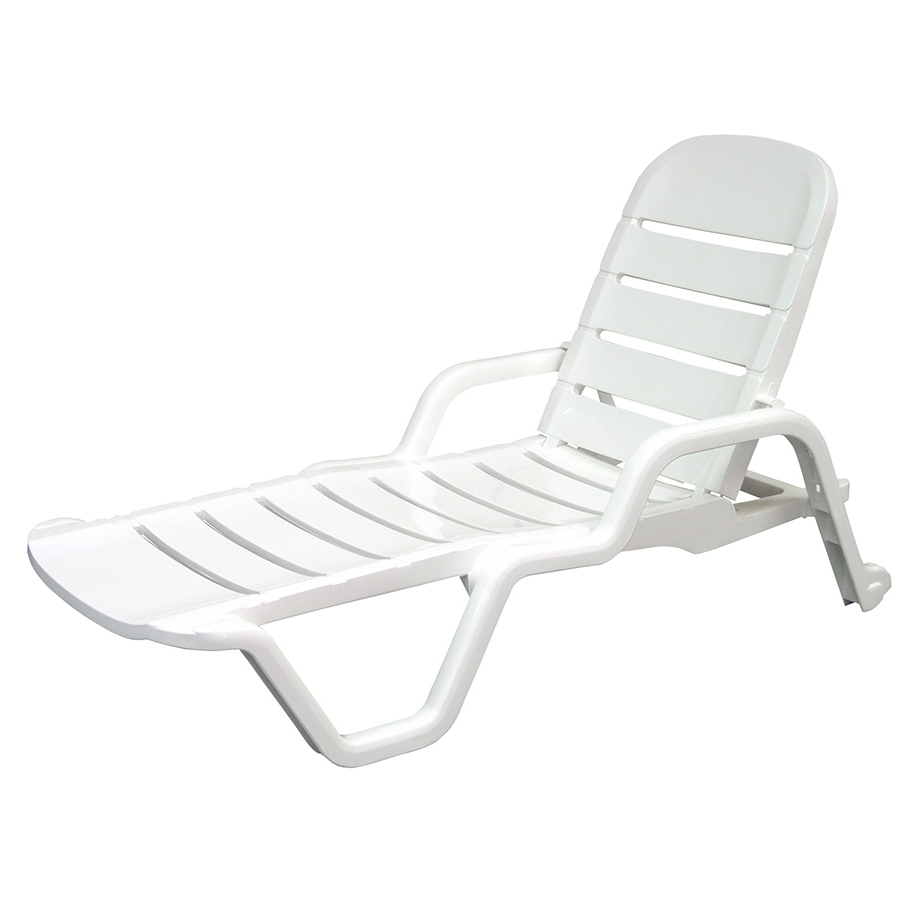 Plastic Chaise Lounges Inside Famous Shop Adams Mfg Corp White Resin Stackable Patio Chaise Lounge (View 8 of 15)