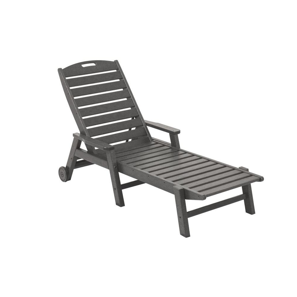 Polywood Nautical Slate Grey Wheeled Plastic Outdoor Patio Chaise Within Most Popular Brown Outdoor Chaise Lounge Chairs (View 10 of 15)