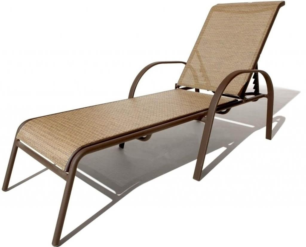 Pool Chaise Lounge Chairs Throughout Trendy Furniture: Great Cast Aluminum Pool Chaise Lounge In Brown Finish (View 12 of 15)