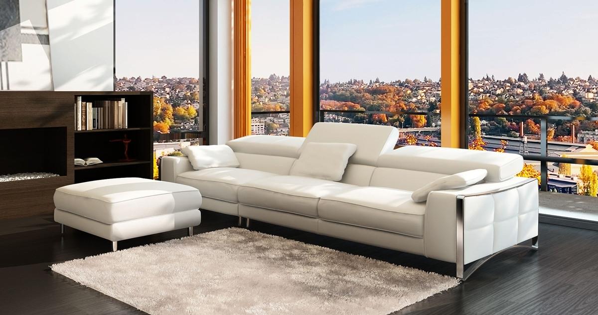 Popular 4 Seat Sofas With Regard To Casa 5060B Modern White Leather 4 Seater Sofa W/ Ottoman (View 13 of 15)