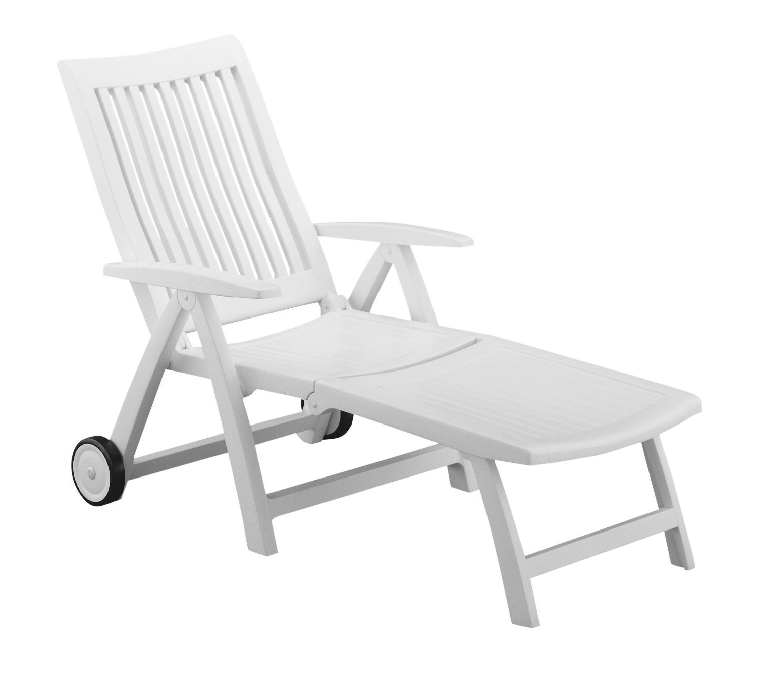 Popular Amazon : Roma Folding Lounger In White Resin : Patio Lounge Intended For Kettler Chaise Lounge Chairs (View 13 of 15)