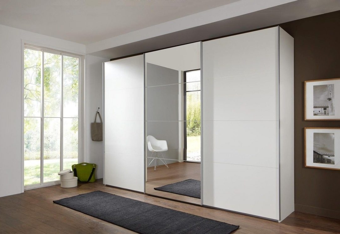 Popular Bergen Wardrobe White With Mirror Doors 2 Door Mirrored Gloss 3 In White 3 Door Wardrobes With Mirror (View 3 of 15)