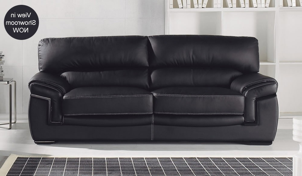 Popular Best Black Leather Sofas Bachelli Black Leather Sofa 3 Seater High Inside 3 Seater Leather Sofas (View 6 of 15)