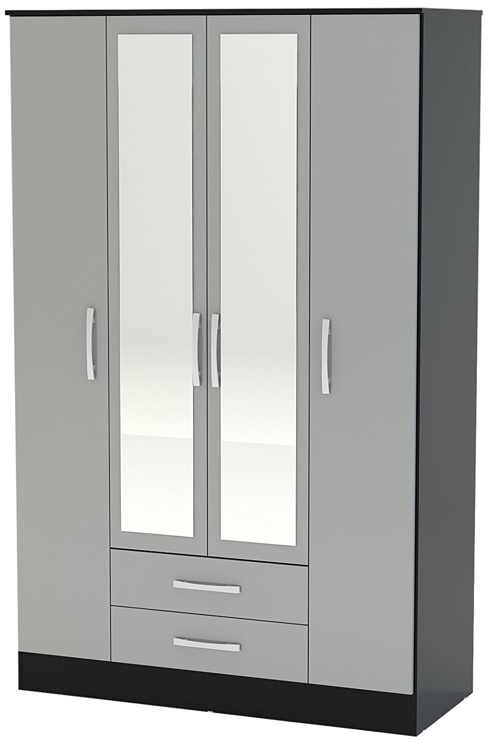 Popular Birlea Lynx 4 Door 2 Drawer Wardrobe With Mirror – High Gloss Intended For Black Wardrobes With Drawers (View 11 of 15)