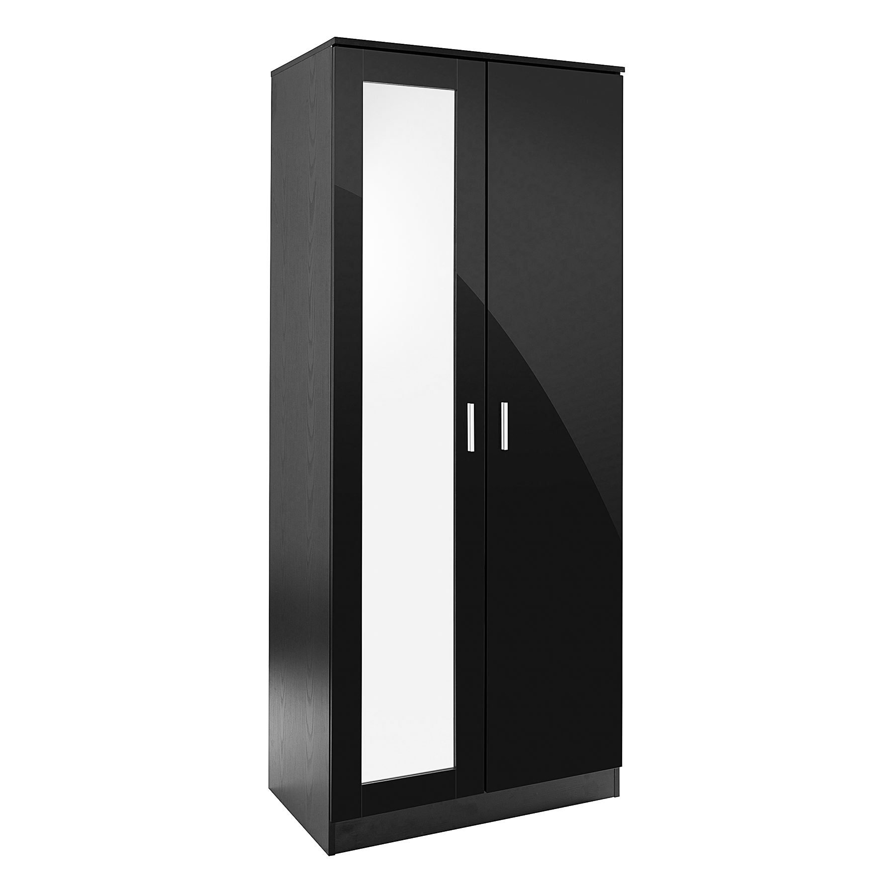 Popular Black Gloss Mirror Wardrobes Intended For Bedroom Furniture 3 Piece Set Black Gloss Wardrobe Drawer Bedside (View 12 of 15)